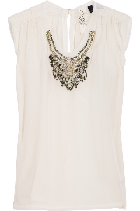 Bird by Juicy Couture Jeweled Silk-Chiffon Blouse ($330)