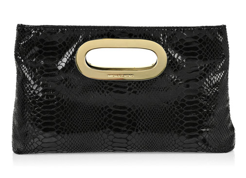MICHAEL Michael Kors Python-Effect Leather Clutch ($205)