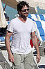 Pictures of Gerard Butler On the Beach in South Beach Florida