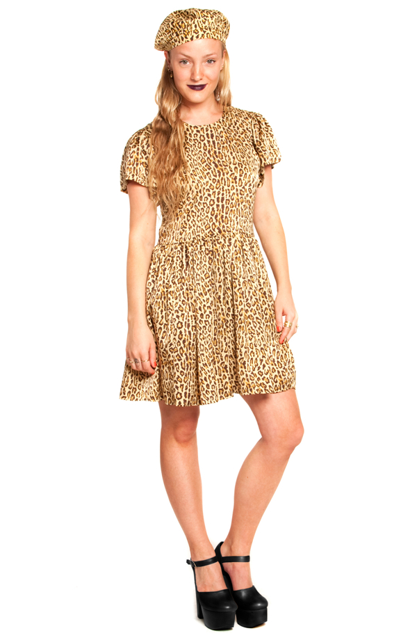 Sophie puff sleeve dress in leopard