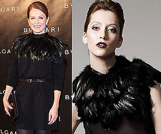 Julianne Moore Wearing Black Feather Circle Scarf