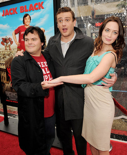 Pictures of Emily Blunt, Jack Black, and Jason Segel at the Gulliver's Travel Premiere in LA