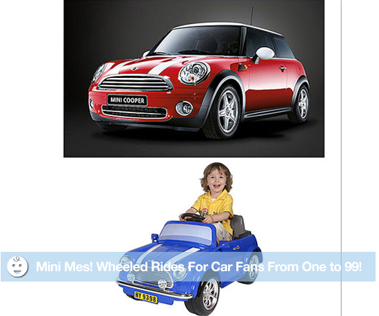Mini Mes! Wheeled Rides For Car Fans From One to 99!