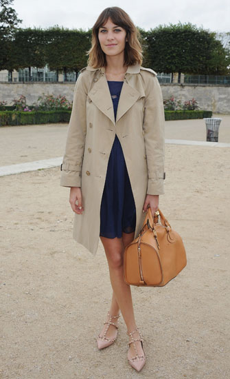 Loving Lex's accessories: a Chloé Aurore leather bag and Valentino studded flats.