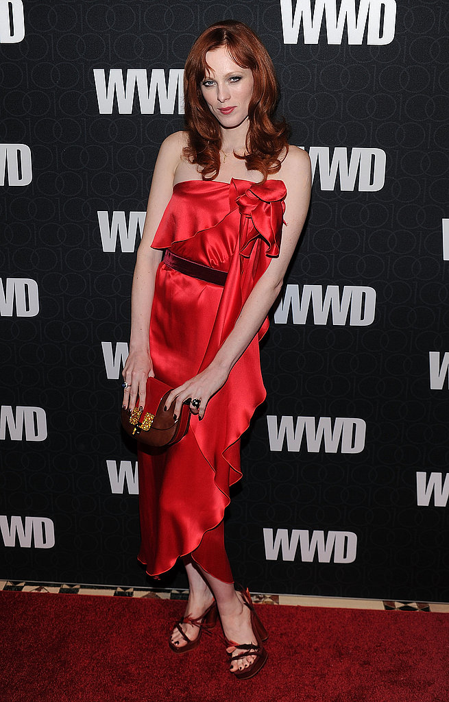 Karen Elson in Marc Jacobs at the WWD 100 Anniversary Gala in New York.