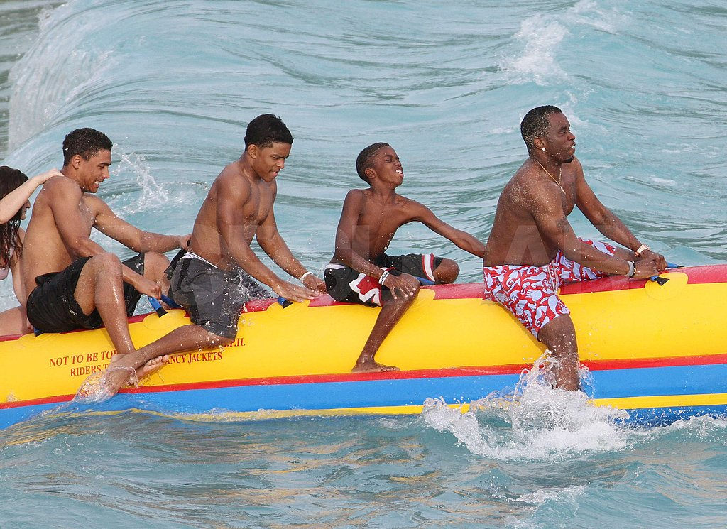 OMG Amazing — Shirtless Diddy Riding a Banana Boat With His Kids and Friends!