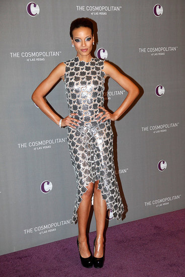 Selita Ebanks's shimmery silver Calvin Klein dress was a total hit.