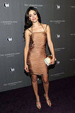Emmy Rossum looked absolutely stunning in a nude-colored, skintight Julien Macdonald bandage dress, Carla Amorim jewelry and Misela gold clutch.