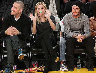 Pictures of Reese Witherspoon, Jim Toth, and David Beckham at the Lakers Game