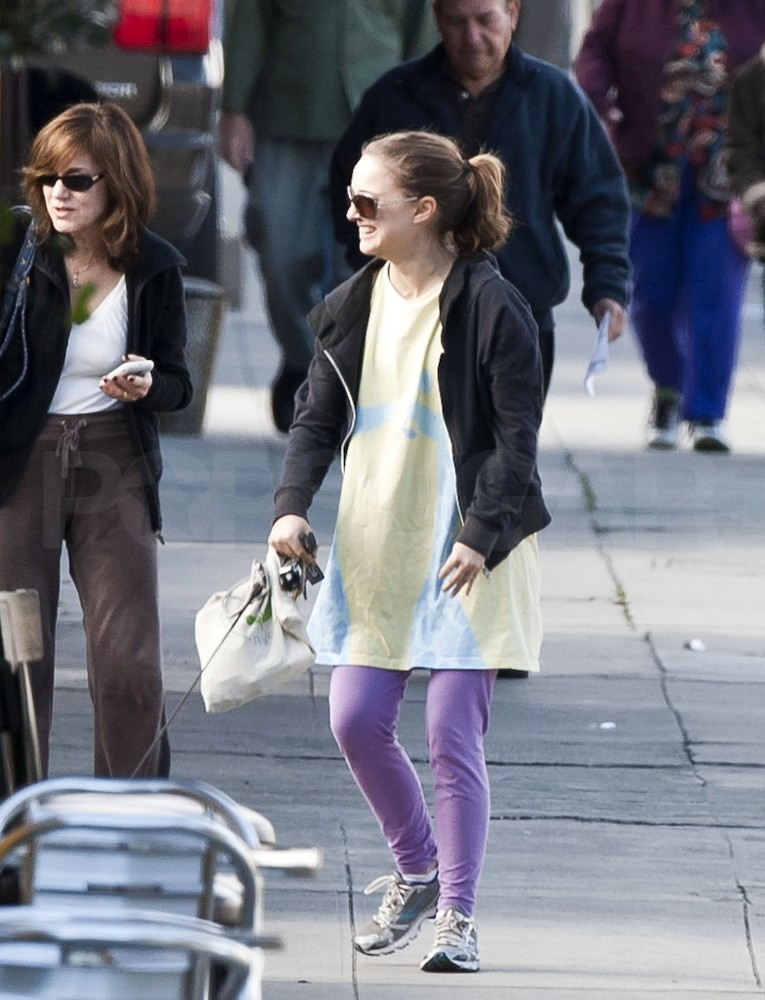 Natalie Portman Shows Her Growing Bump in a Simple Tee While on a Post-PCA Walk With Her Mom