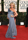 Jane Krakowski Shows Off Her Baby Bump in Blue Badgley Mischka