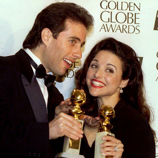 Jerry Seinfeld and his Seinfeld costar Julia Louis-Dreyfus posed backstage with their statues for best actor and best supporting actress in 1994.