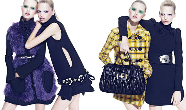 Lindsey pairs with pillow-lipped Daphne Groeneveld for Miu Miu's ad campaign.