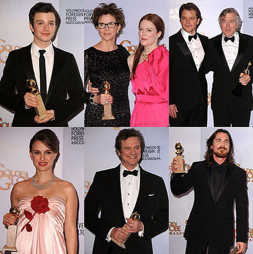 Pictures of 2011 Golden Globes Press Room Winners Including Natalie Portman, Chris Colfer, Colin Firth, Christian Bale