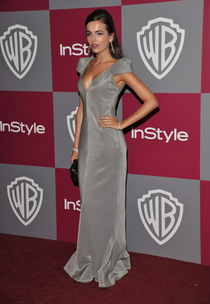 Camilla Belle worked a gorgeous grey Armani gown at the InStyle/Warner Bros after party. Great mix of structured and fluid lines.