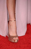 Megan Fox with a tiny ankle strap for a tiny ankle.