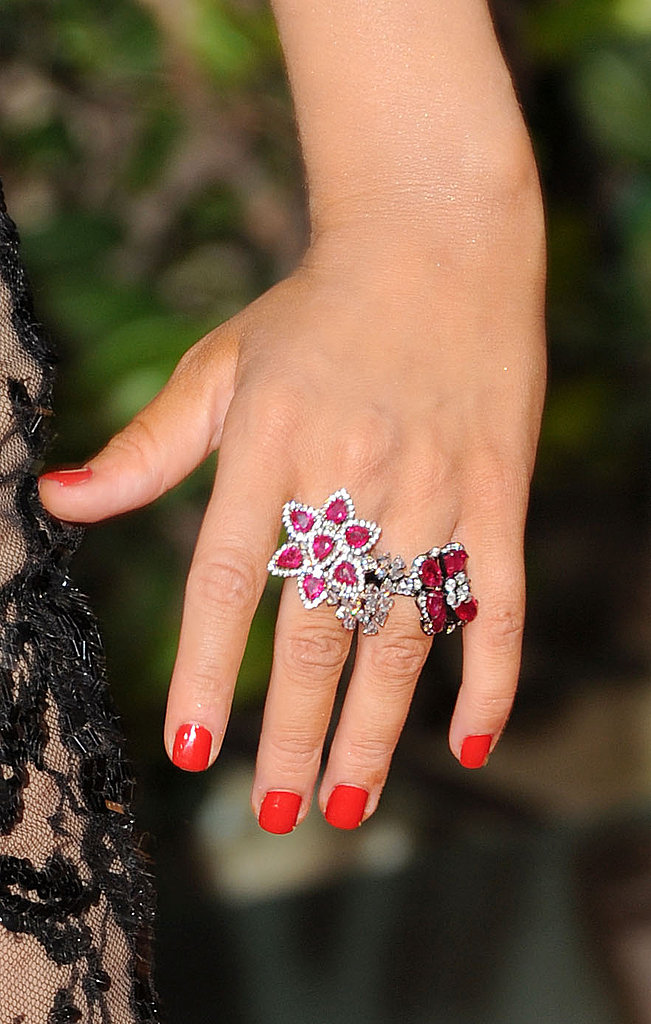 Christina Aguilera has an eclectic assortment of Lorraine Schwartz rings.