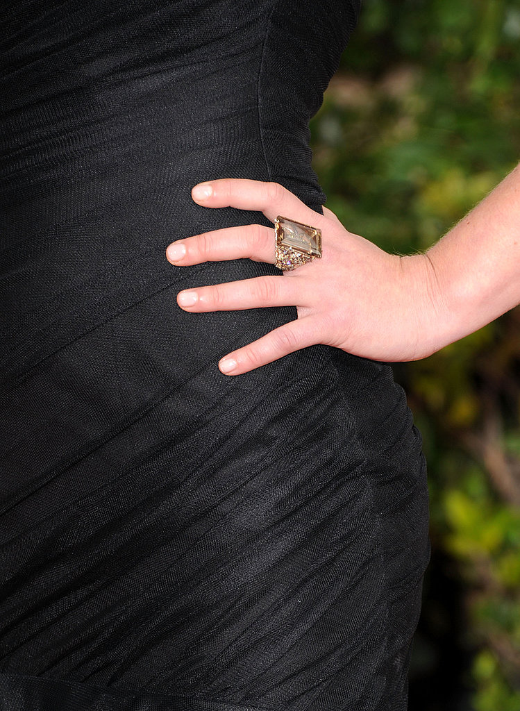 Julia Stiles accentuated her black one-shoulder Romona Keveza gown with a gorgeous H.Stern cocktail ring.