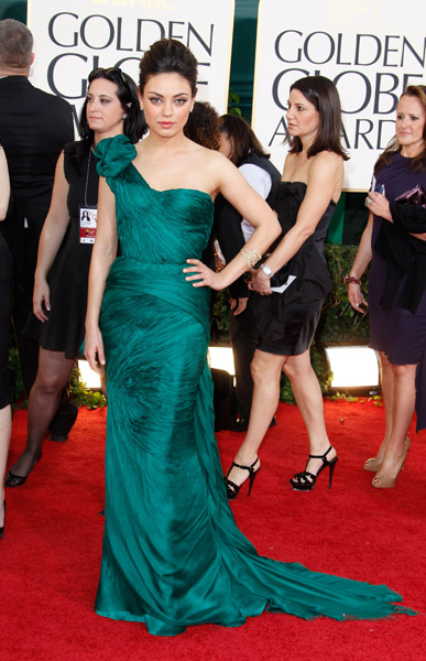 Emerald green was a huge color for the night, and Mila Kunis's Vera Wang number was a stunner.