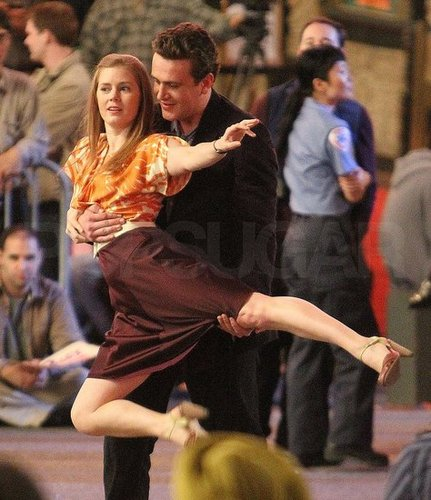 Pictures of Jason Segel and Amy Adams on the Muppets Set in LA