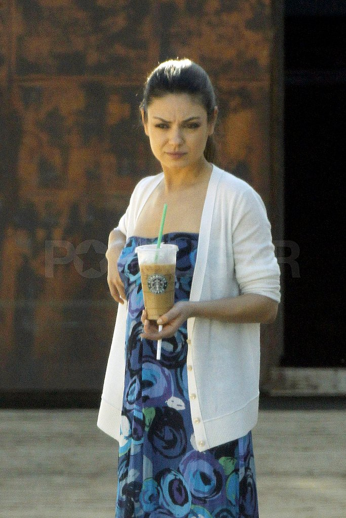Pictures of Mila Kunis Eating Tacos Outside Her Trailer on the Set of ...