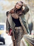 Leopard-print trousers can be easy day wear, paired with the right cozy basics, like your favorite army green anorak.