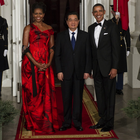 Lady in Red: Michelle Obama Shines in McQueen at State Dinner For China