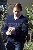Busy Man Matt Damon Starts His Day With Coffee