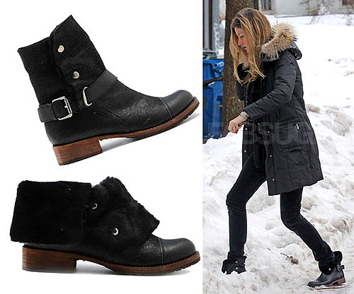 Gisele Bundchen Wearing Matt Bernson Buckle Boots in Boston