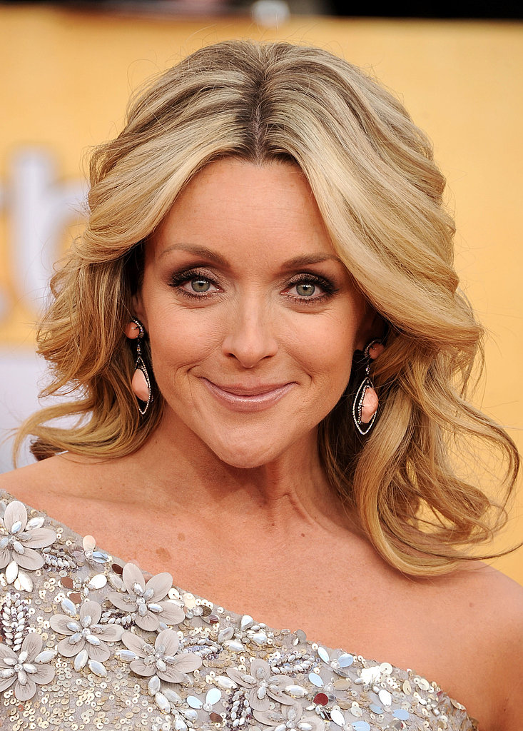 How pretty are Jane Krakowski's peach earrings? So unique.