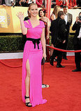 Jennifer Lawrence brought hot pink glamour in her Oscar de la Renta dress.