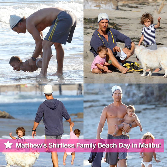 See Matthew McConaughey's Shirtless Family Beach Day With Levi, Vida, and Their Pups!