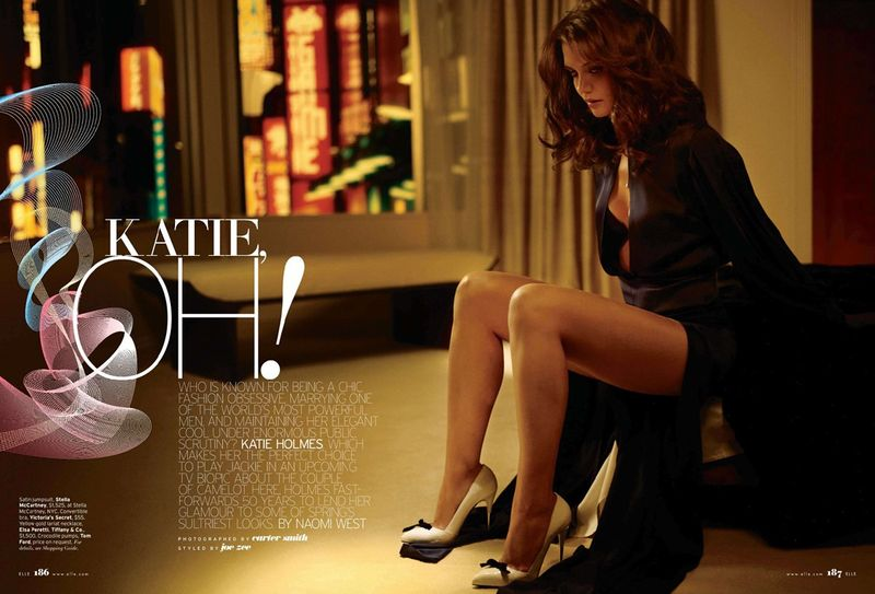 See Katie Holmes Sexy Housewife Routine For US Elle's February Issue