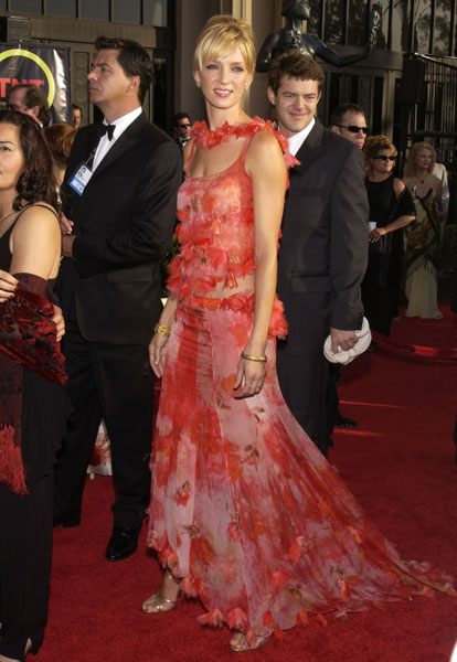 Ruffled red and pink florals for Uma Thurman in '03.