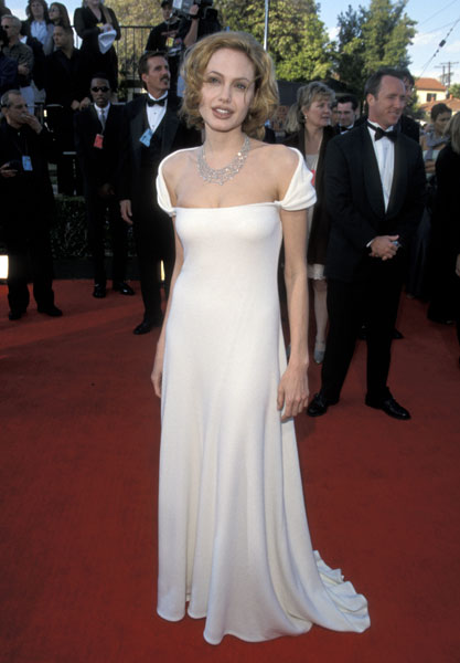 Angelina Jolie opted for an off-the-shoulder white gown back in her blond days in '99.