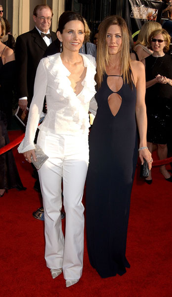Friends cast mates and real life BFFs Courteney Cox and Jennifer Aniston made a chic black and white duo in 2003.