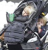 Naomi Watts Pushes Sasha and Samuel Through the Snow