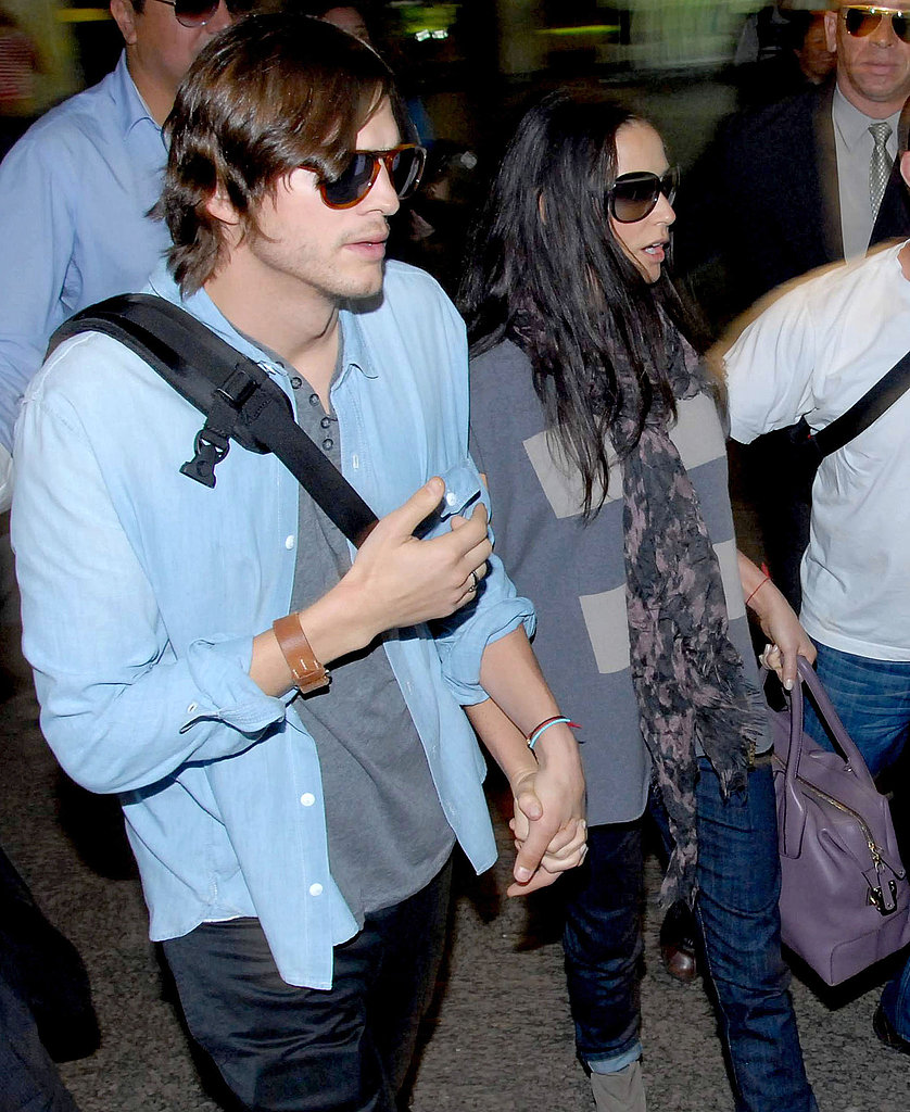 Pictures of Ashton Kutcher and Demi Moore Arriving in Brazil