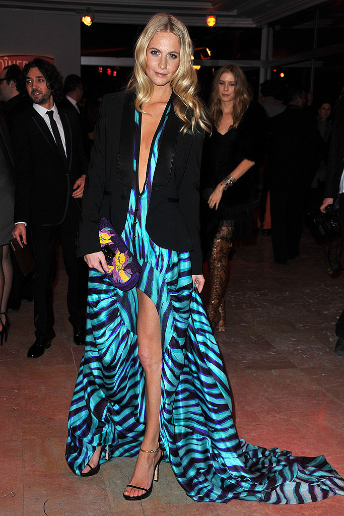 Poppy Delevigne's glam, leg-revealing, print maxi paired perfectly with a tuxedo jacket for the Sidaction Gala dinner in Paris.