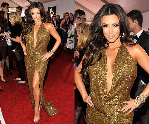 Kim Kardashian in Kaufman Franco at the Grammys 2011