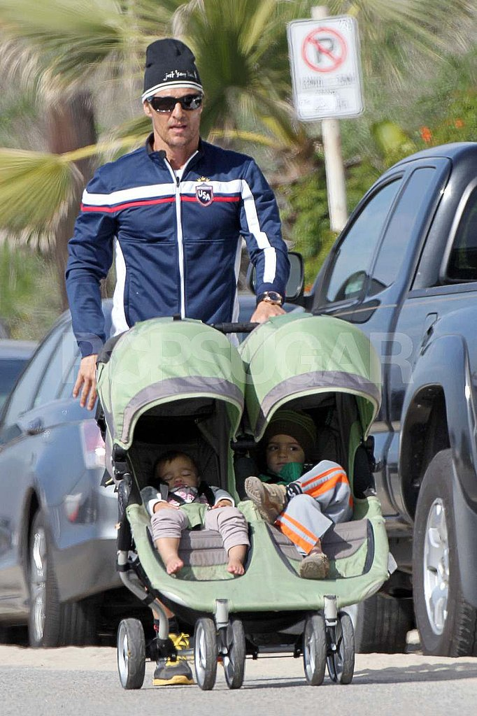 Matthew McConaughey Walks Levi and Vida Through His Workout Routine