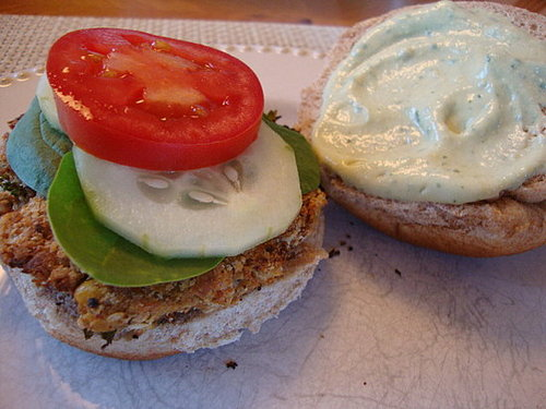 "Chickpea Burgers with ""Ricotta"" Sauce"