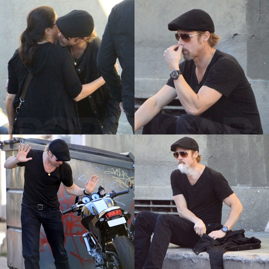 Pictures of Brad Pitt Smoking and Hugging Fans in LA