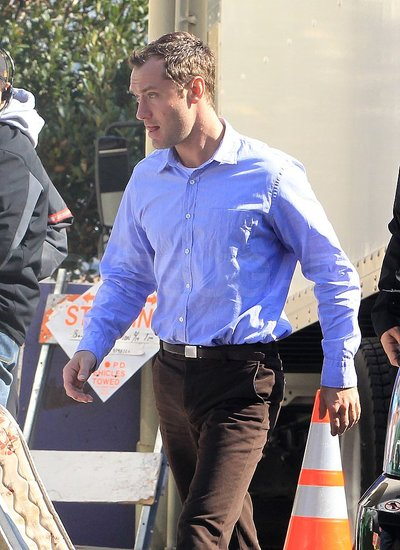 Pictures of Jude Law on the Set of Contagion Filming in San Francisco