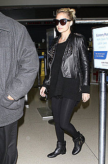 Pictures of Nicole Richie Wearing Leather Jacket at LAX