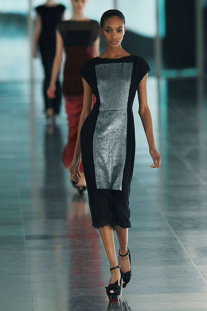 Jonathan Saunders: Because while he did wonders with colorblocking and geometric prints, there was also this one simple, perfect dress, on Jourdan Dunn. See more of Jonathan Saunders's Fall 2011 collection here.