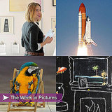 Pictures of Discovery Shuttle, Vanity Fair Art Auction, Banksy Art, and More