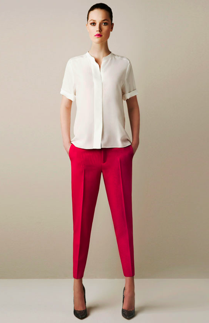 Studio Shirt ($90), Narrow Leg Studio Trousers ($90), Glitter Court Shoe ($110)