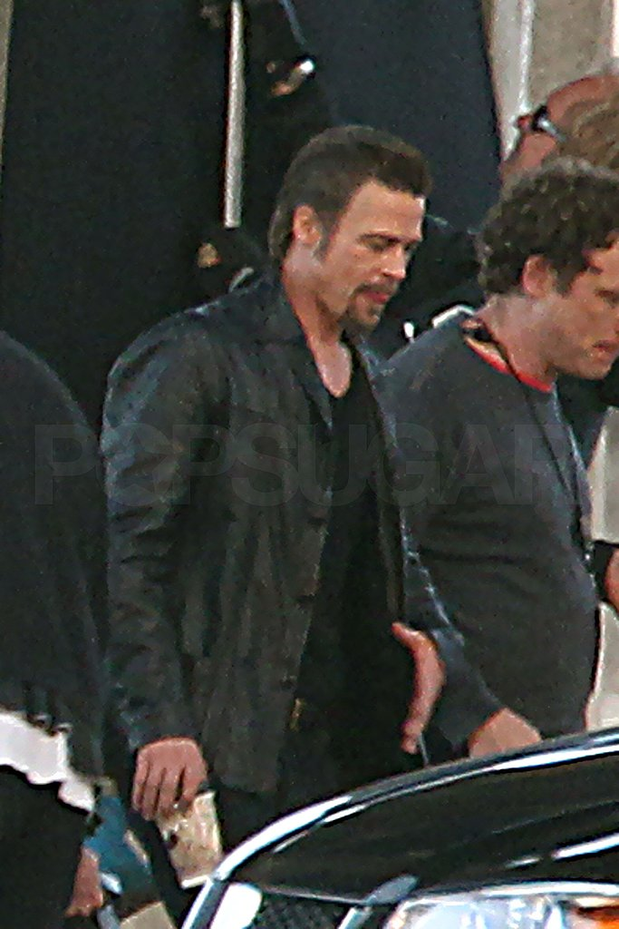 Brad Pitt Keeps His Goatee Intact to Shoot Cogan's Trade
