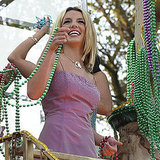 Britney Spears shared her stash of beads in New Orleans in February 2000.